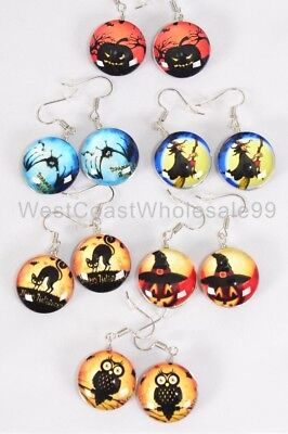 6 Pairs Fashion Earrings Halloween Double Sided Glass Jewelry Wholesale Lot USA](Halloween Pairs)