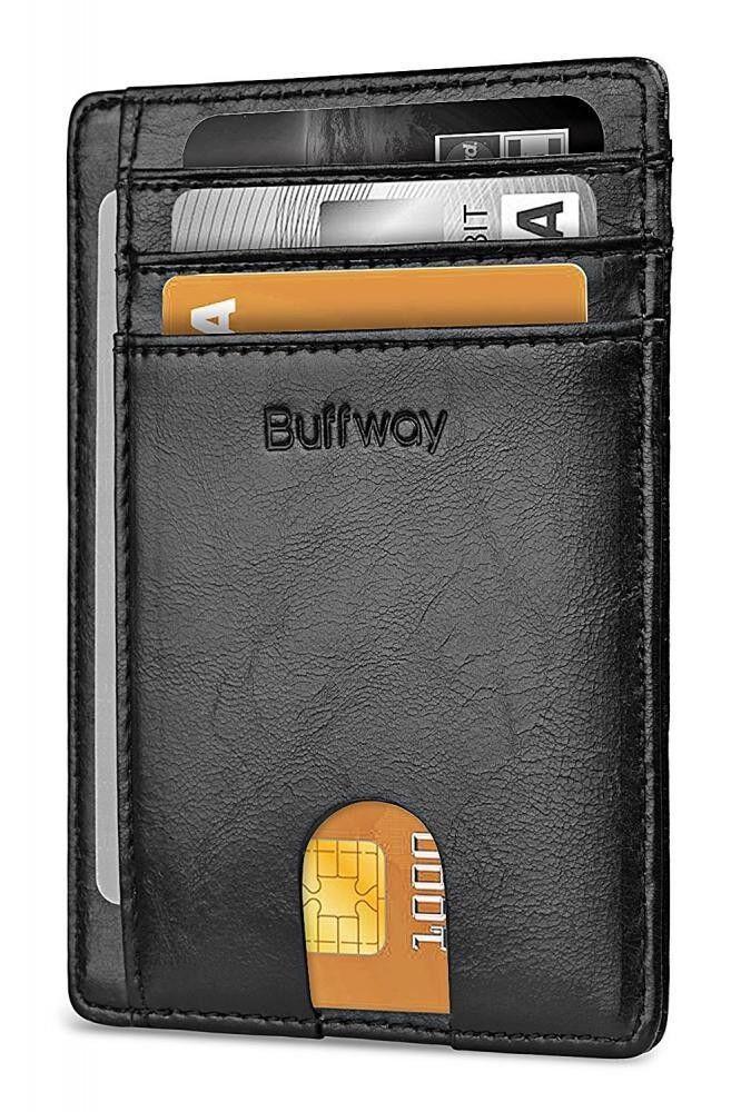 Buffway Slim Minimalist Front Pocket RFID Blocking Leather W