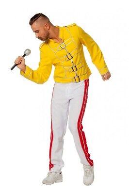 King Freddie Deluxe Herren Kostüm Rockstar Jacke und Hose Mercury Freddy - Freddie Mercury Gelbe Jacke Kostüm