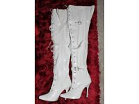 Ladies white patent knee-high boots