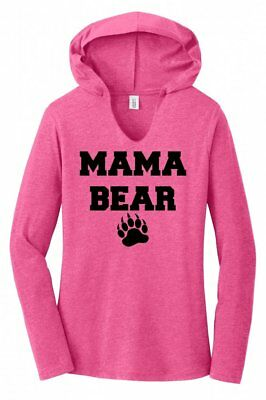 Mama Bear Ladies Hoodie Tri-Blend Tee Shirt Cute Mothers Day Mom Mommy Gift  - Bear Hoodie