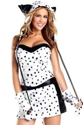 Flauschiges Plüsch Damen-Kostüm DALMATINER Damen Hund Tier (Damen Hund Kostüme)