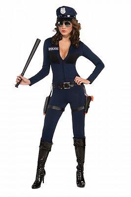 fic Cop Catsuit - inkl. Mütze Polizistin Police sexy Overall (Cop Damen Kostüm)