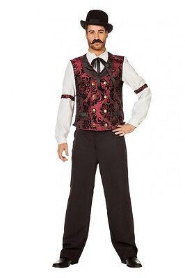 Wildwest Saloon Barkeeper Herren Kostüm Hemd mit Binder - Herren Saloon Barkeeper Kostüm