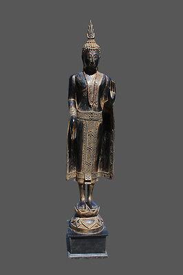 205 cm großer Holz Buddha Statue geschnitzt Mandalay Budda groß Thailand Burma