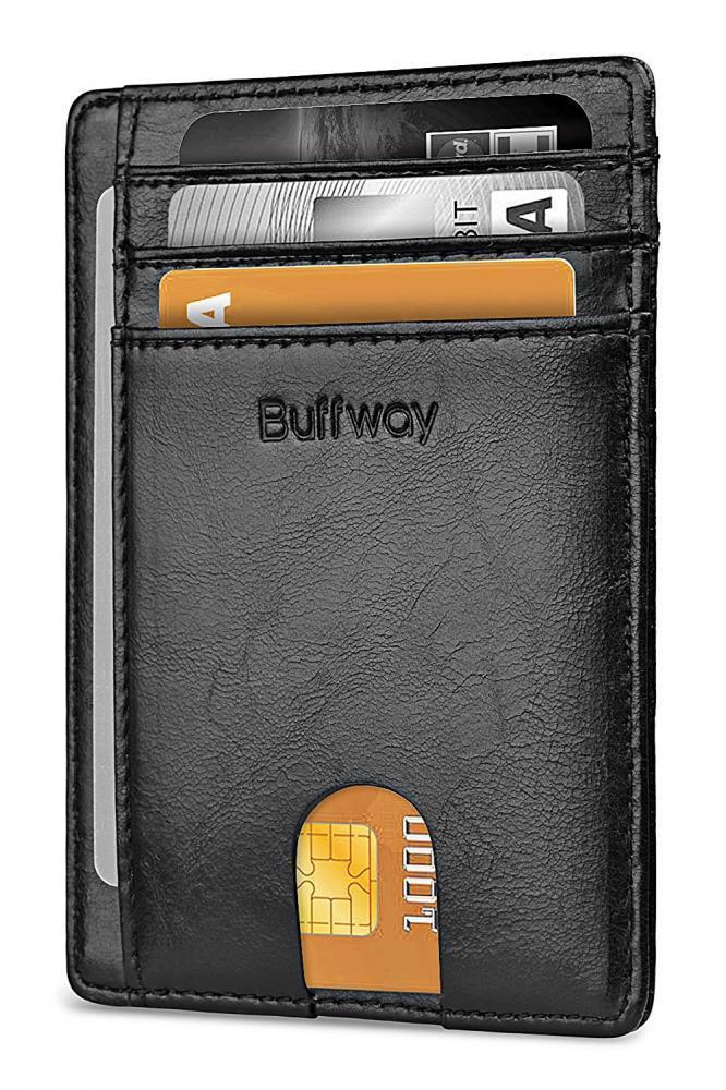 Wholesale Buffway Slim Minimalist Leather Wallets for Men Wo