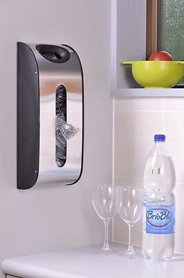 Grocery Bag Dispenser Wall Mount Storage Holder Plastic Kitchen Stainless Steel
