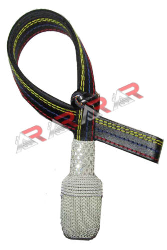 New Army Officers Black Leather Sword Knot Scottish Silver Wire Acorn Brand AAR