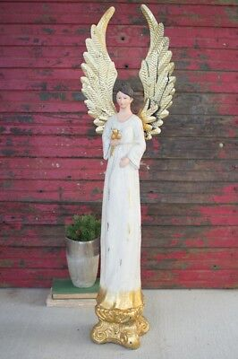"38"" Tall Christmas Angel Holiday Shabby Chic Decor Figurine Wood Metal Wings"