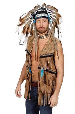 Fransen-Weste in Wildleder-Optik für Hippie und Indianer Herren Kostüm 70er 60er
