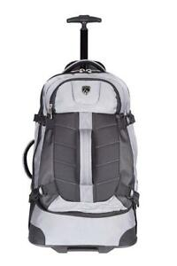 NEW Travelers Polo  Racquet Club Aeros 21 inch Softside Rolling Backpack, Silver Condition: New