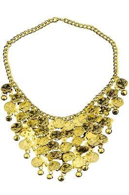 Halskette Münzen Bauchtänzerin Zigeunerin Inderin Kostüm Gold Orient - Bauchtänzerin Kostüm Accessoires