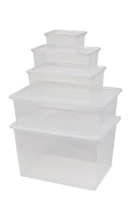 5 x Aufbewahrungsbox mit Deckel Räder Kunststoffbox Box Kiste Behälter stapelbar
