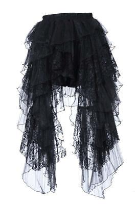 RQ-BL Steampunk Gothic Rock schwarz lang Spitze Vintage Kostüm Verkleidung - Spitze Langer Rock Kostüm