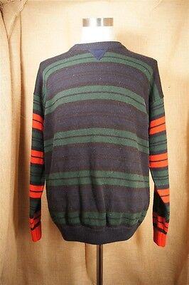 Gitano Stripe Blue Red Green 90's Vintage Men's Sweater Large