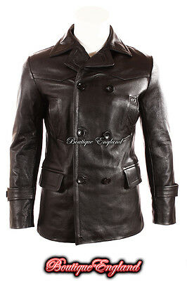 'GERMAN PEA COAT' Men's Classic Reefer Style Military Real Hide Leather Jacket