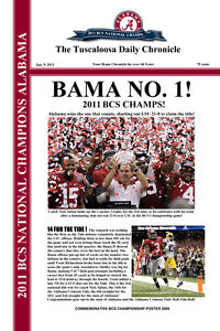 2011  BCS NATIONAL CHAMPIONS ALABAMA CRIMSON TIDE HEADLINES STYLE POSTER 12X18!!