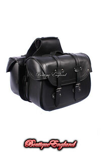 SD48-LEGEND-Black-Cruiser-Motorcycle-Bikers-Panniers-Leather-Look-PU-Saddle-Bag