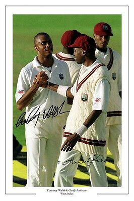 CURTLY AMBROSE & COURTNEY WALSH WEST INDIES CRICKET SIGNED PHOTO PRINT