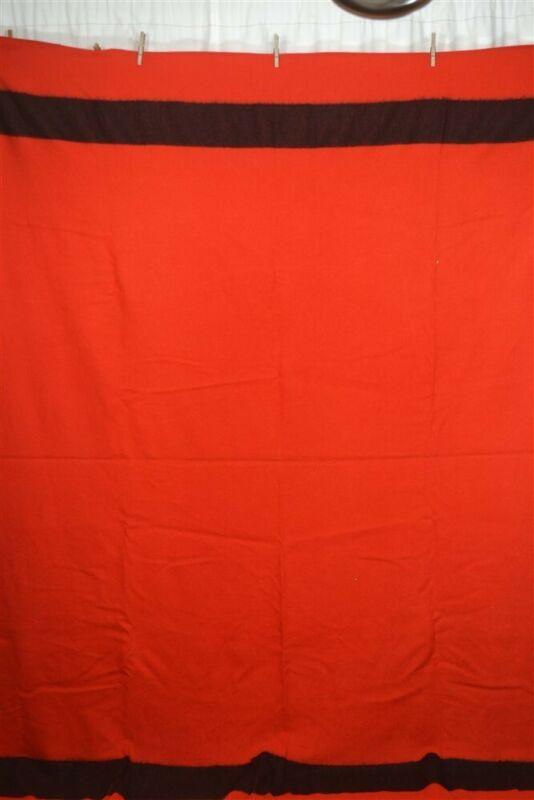 antique blanket red wool 68 x 88 black stripe camp reenactment