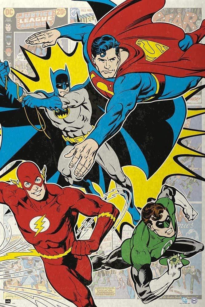 JUSTICE LEAGUE - COMIC COLLAGE POSTER 24x36 - SUPERMAN BATMA