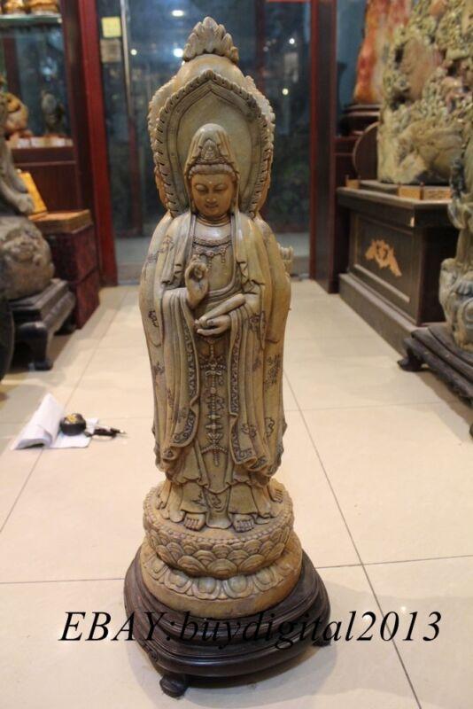 """26""""Natural Shoushan Stone Carving trihedral Kwan-yin Guanyin Guan Quan Yin Statu"""