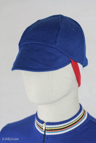Vintage style merino wool CYCLING CAP double sided blue / France