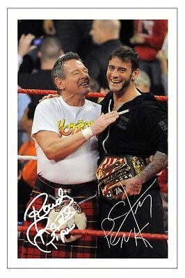 ROWDY RODDY PIPER & CM PUNK WWE WRESTLING SIGNED PHOTO PRINT AUTOGRAPH