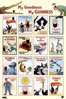 "GUINNESS BEER MY GOODNESS MONTAGE AD POSTER PRINT NEW 24""X36"" FREE SHIP"