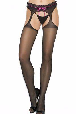 Plus Size Sheer Crotchless Pantyhose Hose Hosiery Suspender Open Back Stocking - Suspender Hose