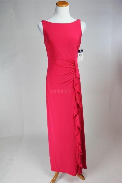 Chaps by Ralph Lauren Ruffled Maxi Stretch Jersey Evening Dress Size ...