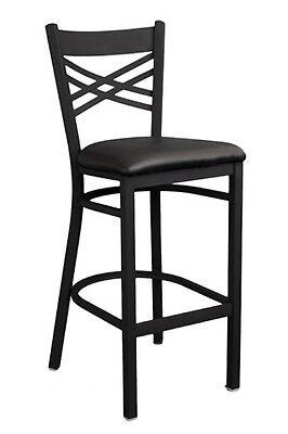 Restaurant Bar Stools X Back Black Metal 1 Dozen Wholesale Barstools Black Seat
