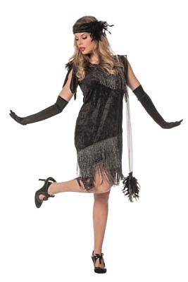 Charleston Flapper Damen Kostüm Schwarz Fransenkleid Stirnband 20er Jahre Kleid
