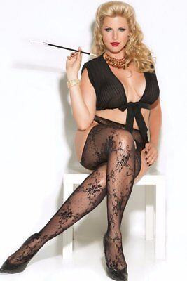 Plus Size Pantyhose Hose Footed Floral Suspender Cutout Black Lace Crotchless - Suspender Hose