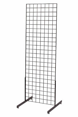 Gridwall Panel 2 X 6 Grid Wall Display Black 2 Legs Standing Fixture Metal