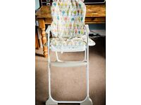High Chair -Joie Mimzy Snacker Highchair in Parklife RRP£49.98