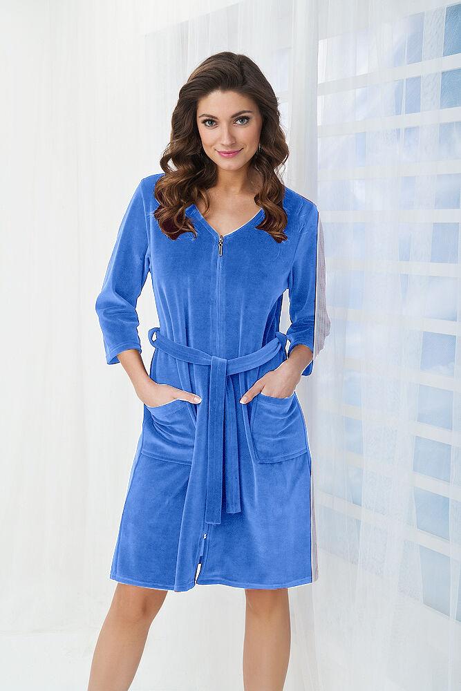 Womens Cotton Dress Style Bath Robe Housecoat Dressing Gown Zip