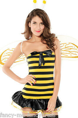 Damen Sexy 3 Stück Busy Bee Tier Halloween Kostüm Kleid Outfit + - Busy Bee Kostüm