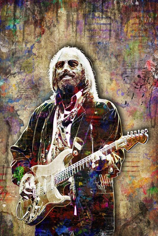 Tom Petty 12x18in Tribute Poster, Tom Petty & The Heartbreakers Art Free Ship