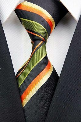 PRICED TO CLEAR! Mens Skinny Multi Stripe Silk Necktie Tie Black Green Orange