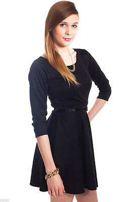 Gorgeous Black Plain Belted Skater Mini Dress With Waist belt Set