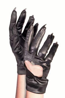 Schwarze Handschuhe mit Herzausschnitt und Krallen Kostüm Zubehör Katze Catwoman