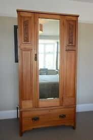 Wardrobe -Beautiful antique pine with drawer and hanging space circa 1910?