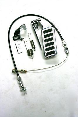 "Universal Aluminum 6 Pad Gas Pedal + 24"" Black Throttle Cable Bracket Spring Kit"