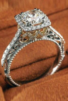 5Ct Round Cut Diamond Halo Vintage Cocktail Engagement Ring 14ct Dual Gold Over