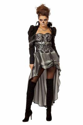 Viktorianische Lady Schwarz/Silber Damen Kostüm Kleid Barock Halloween - Viktorianische Dame Kostüm