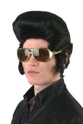 Elvis Presley Sideburns (70's Classic Elvis Presley Wig Blk Pompadour Synthetic Hair Wig With Sideburns)