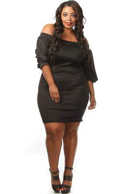 oulder Puffy Sleeve Bodycon Mini Dress Black (1X, 2X, 3X) (Plus Size Kleider Puffy)