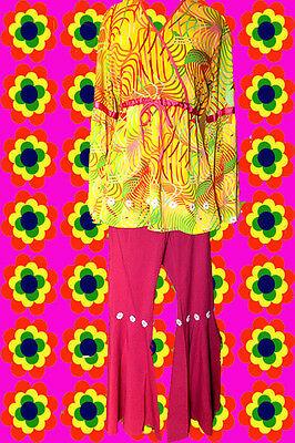 116✪ Retro Hippie Kostüm 60er 70er Jahre Schlaghose + Trompetenärmel Tunika pink