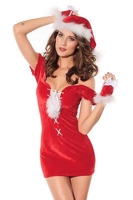 Red Velvet Lace Up Santa Chemise Christmas Dress Lingerie Mrs Claus 7136](Mrs Santa Lingerie)